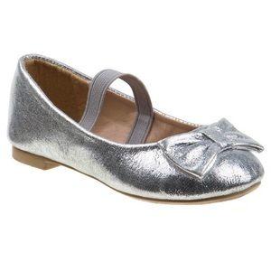 Silver Metallic Bow Accent Elastic Strap Flats